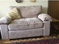 Sofa bed single. Comfy two seater sofa. Taupe chenille upholstery. Excellent condition