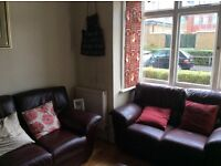 3 and 2 seater sofa and leather pooffe footstool