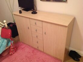 Large Beech foil wrapped bedroom storage unit with drawers/cupboards for sale. Very good condition.