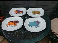 Retro Steak Plates x 4