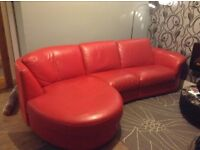 Red leather sofa, 3 or 4 seater, corner, excellent condition.
