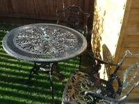 Black garden table and 2 chairs