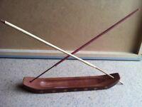 Large Ornamental Oriental Wood Joss Sticks Holder