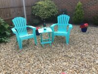 Garden chairs as new, ex Beales (£40 each originally) would accept £15.00 each and table £5.00.
