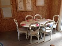 Stunning dining suite table 6 six chairs country distressed painted Laura Ashley