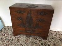 Chinese hand carved wooden chest drawers