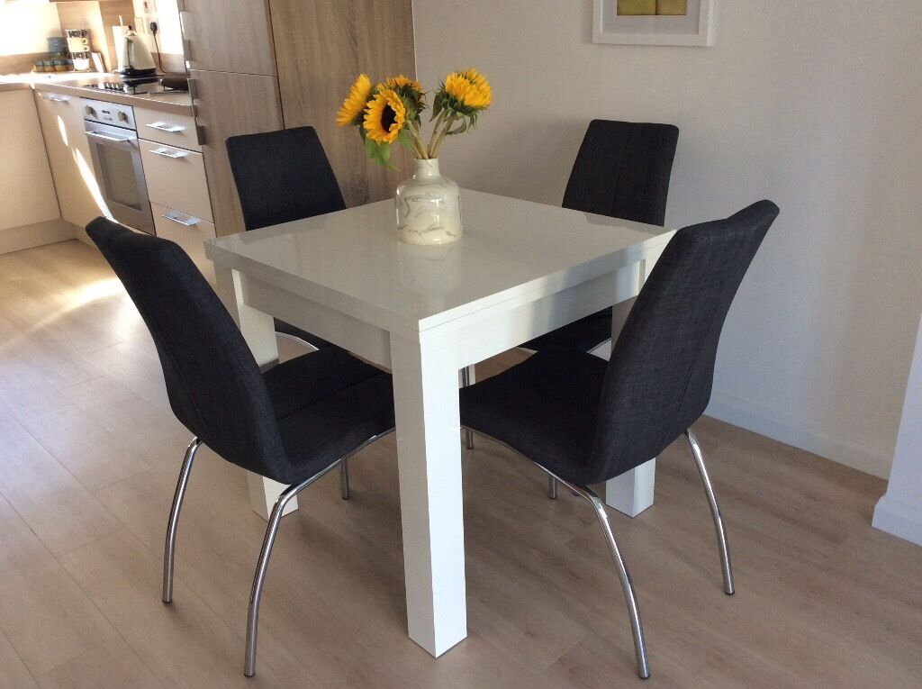 next white valencia dining table chairs not for sale