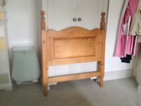 Antique Pine Solid Wood Single Headboard.