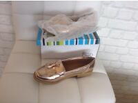 Brand New Rose Gold Loafers Size 4