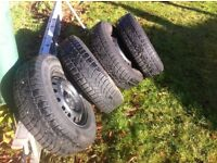 FOUR WINTER TYRES ON FACTORY STEEL WHEELS - 2006 PLATE MITSUBISHI L200 - 205 R16 C110 -108R M&S