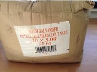25kg Box of galvanised XL head clout nails 40 X 3.00