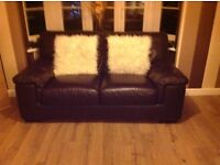 Brown Leather Sofas (x2), Chair and Footstool