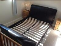"Leather Sleigh 4'6"" Double Bed"