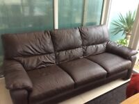 Brown leather settee sofa 3 seater