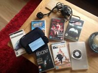 Sony psp with 4 games, 3 movies