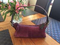 Coach , suede shoulder bag HO4S-7470 small tote ... purple / plum