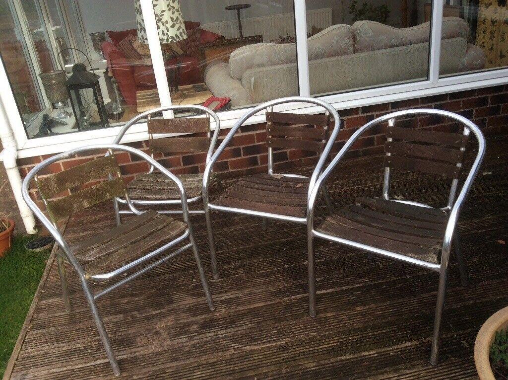 4 metal and wood garden chairs | in Hucknall ...