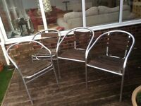 4 metal and wood garden chairs