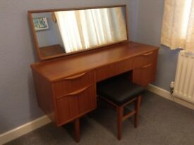 1960's Mahogany Dressing Table and Stool in Amazing Condition