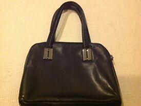 As new John Lewis collection black leather handbag