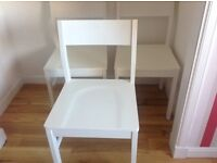 3 white dining chairs