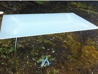 Modern glass top dining table, smoked opal glass