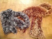 2 X FLUFFY SCARFS. 1 GREY 1 BROWN. USED, EXCELLENT CONDITION.