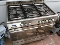 Baumatic 90 dual fuel range cooker stainless steel