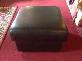 Stunning Black Leather Footstool