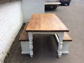 Table and bench set.