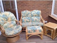 Conservatory furniture, 2 seater settee, swivel rocker chair, footstool and nest of tables