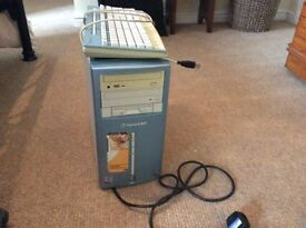 PC tower and key board. Vintage PC for spare parts