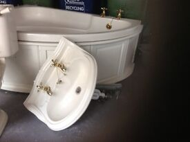 Corner bath sink and pedestal ivory