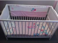 White cot bed with mattress & accessories immaculate condition