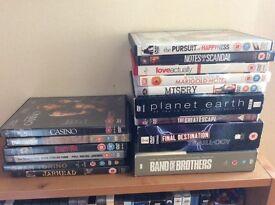 124 DVDs including DVD case furniture