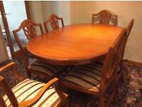 MATCHING REPRODUCTION YEW DINING ROOM FURNITURE