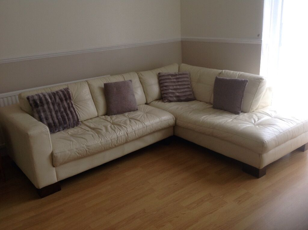 cream leather corner sofa for sale in motherwell north
