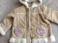 Girls Suade Fur Lined Coat. Age 12 to 18 months. As New Condition
