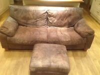 Three seater leather sofa + foot stool - Free - For collection only asap