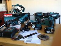 new makita 18v complete set: skill saw+recip saw+grinder+impact+combidrill+lamp+2x4ah+charger