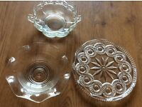 Glass plate and 2 bowls
