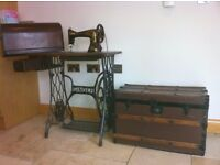 Antique Singer Sewing Machine and wooden travel chest
