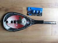 Olympus Cyclone Squash Racket and x3 Dunlop Max Squash Balls- NEW