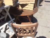 GARDEN SET FOLD UP WOOD TWO CHAIRS & TABLE SOLID WOOD