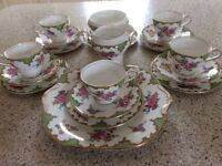 Aynesley Tudor green wavy edge bone China tea service