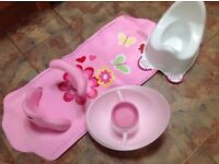Pink Baby Sit In Safety Bath Mat , Potty and Mothercare Top and Tail Bowl, very Good Condtion
