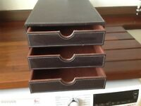 Small Set of Desk Top Faux Leather Drawers