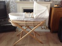 Moses Basket & Stand including 9 Fitted Sheets. Excellent condition. Comes from smoke free home.
