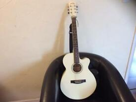 Stag Handmade Western Guitar electric acoustic: SW206CE-WH in custom Cream with latte banding.