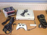 XBOX 360 BUNDLE 120GB-1 CONTROLLER- CAMERA-WIRELESS ADAPTER- 9 GAMES